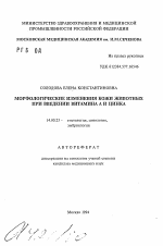 Морфологические изменение кожи животных при введении витамина А и  Автореферат диссертации по медицине на тему Морфологические изменение кожи животных при введении витамина А и цинка